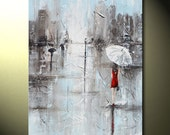 """GICLEE PRINTS Art Abstract Painting Girl Red Umbrella City Large Art Home Wall Decor Canvas Prints Fashion Gift Her sizes to 60"""" - Christine"""