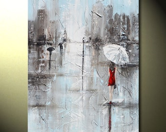 "GICLEE PRINTS Art Abstract Painting Modern Girl Red Umbrella City Large Art Home Wall Decor Canvas Prints Fashion sizes to 60"" - Christine"