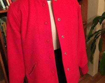 CAR CLUB--Killer 1950s Fire Engine Red Wool Whiting Car Club Jacket or Coat