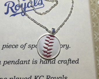 Played game ball pendant necklace sterling silver Washington Nationals memory keeper personalized baseball mom gift