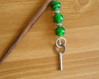Green Apple Swirls - deep green glass and silver hairstick with handcuff key