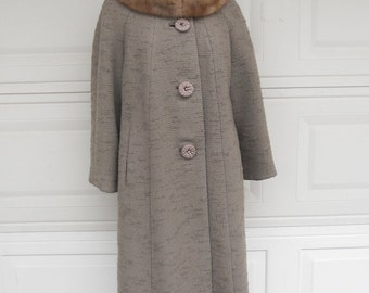 Vintage 50's Swing Coat Smoky Brown Textured Coat w/ Fur Collar Size Large