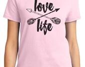 Love Life Valentine Women's T-shirt Short Sleeve 100% Cotton S-2XL Great Gift (TF-VA-017)