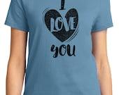 I Love You Valentine Women's T-shirt Short Sleeve 100% Cotton S-2XL Great Gift (TF-VA-023)
