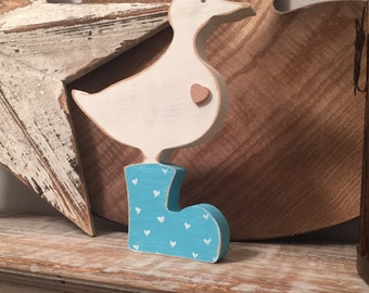 Medium Wooden Duck - hand-painted, duck in wellies, any colour, free-standing