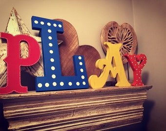 Wooden Letters PLAY, Play Room Decor, Kid's Room, Nursery - wall letters
