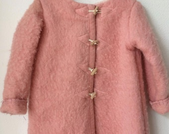 Girls jacket, blanket coat dekenjas made of a vintage pink wool blanket, size 116