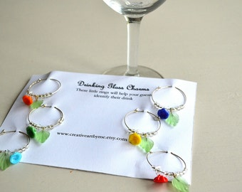 Wine Charms Set of Six lamp work glass flowers with clear glass beads