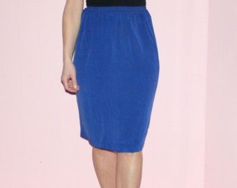 Blue Silk/Pencil Skirt/90s/Medium