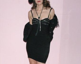 Mini Black Dress/BODYCON/Zippered/Medium