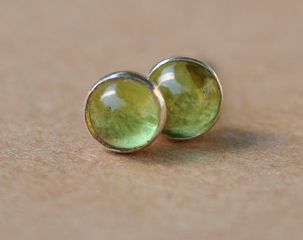 Peridot Earrings handmade with Sterling Silver Studs. 5mm Cabochon Gemstone and silver earrings. Pale green, 925 silver jewelry, birthdays