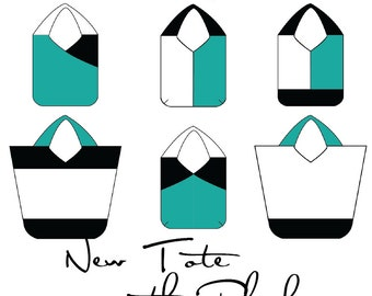 PDF sewing pattern, purse pattern, color block tote, bag pattern, downloadable digital file, shoulder bag, diy purse, toriska