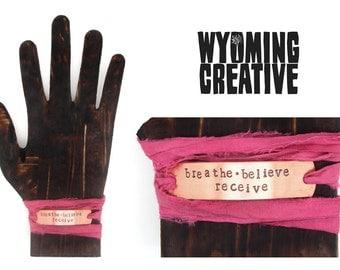 Wrap bracelets, boho chic jewelry, silk  - stamped copper id, breathe believe receive, yoga, meditation, hot pink, handmade jewelry