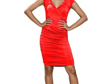 jersey dress, ruched dress, wiggle dress, pencil dress, wrap dress, red dress