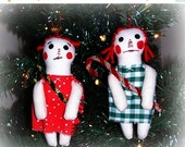SALE Happy New Years Day Folk Art Christmas Raggedy Ann Doll Christmas Ornies Ornaments Set of 2 keb#4