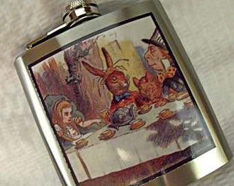 Flask,  Vintage Alice in Wonderland Mad Hatter Image  6 ounce Mens Womens Gift  Handmade
