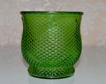 Green Flower Vase Bowl Diamond Pattern E O Brody Green Vintage Vase Candy Dish Bowl Candle Holder Glass Flower Vase Green Vases
