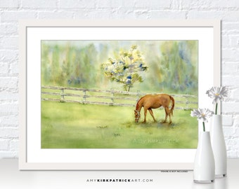 HORSE Watercolor Painting, Horse Print, Horse Greeting Cards, Horse Original Painting, Horse Wall Decor, Horse Art, Misty Morning