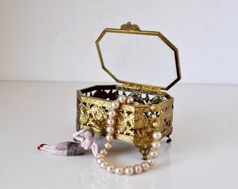 Vintage Gold Metal Beveled Glass Jewelry Box