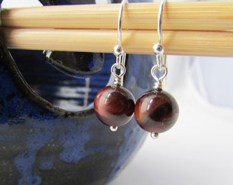 Red Tiger Eye Earrings, small dangle earrings, round tigers eye, tiger iron stone earrings
