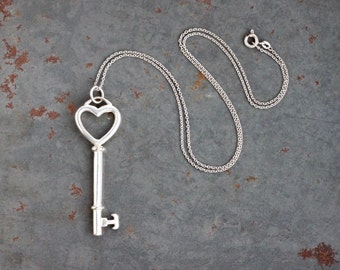 Silver Key Necklace - Sterling Silver Skeleton Pendant on Chain
