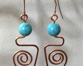 Copper and Blue Beaded Earrings