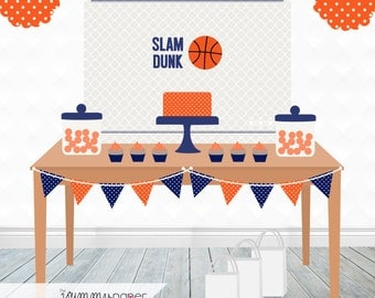 Printable Basketball Backdrop - 3x4 ft. Personalized Printable Party Poster for Sports Themed Parties .. bb03