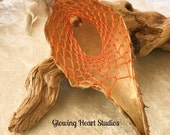 Orange Dreamcatcher - natural organic milkweed seed pod dream catcher nursury decor or wedding favor gift