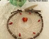 Natural Dream Catcher - red coral - glass heart bead - handspun silk fiber - prayer feather - apple tree twig dreamcatcher