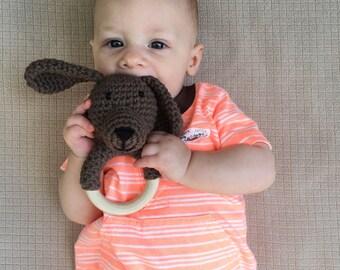 Brown Crochet Puppy Teething Ring / Wood Teether Toy
