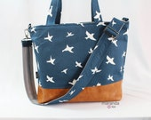 Extra Large Lulu Tote Messenger Diaper Navy Birds PU Leather -Archer Vegan Overnight Nappy Beach