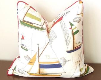 Nautical Throw Pillow, Nautical Decor, Yacht Plans, Duralee Multi, Ocean Decor, Designer Pillow, Red, Green, Yellow, Blue, Nautical Cushion