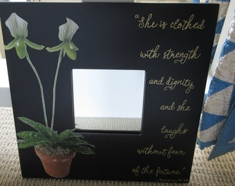 She Laughs Mirror w/ Orchid- 10x10 - White w/ Green and Gold with Bible Verse Proverbs 31