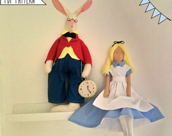 Wonderland Pattern: Alice and the white Rabbit  Cloth Doll E-Pattern Pdf