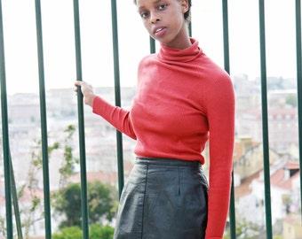 Vintage 90s Black Leather Mini Skirt