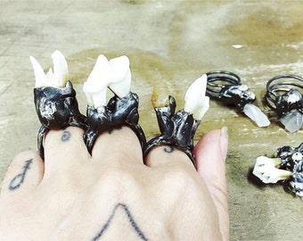 Primitive Ring, real tooth and rhinestone Ring, Bone jewelry, Wasteland Jewelry, taxedery jewelry, apocalyptic fashion, unique gift, gothic