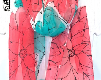 Silk Scarf Handpainted, Red Silk Scarf, Gift for her, Spring Scarf, Red and Mint Green Floral Scarf, Silk Scarves Takuyo, 11x60 inches
