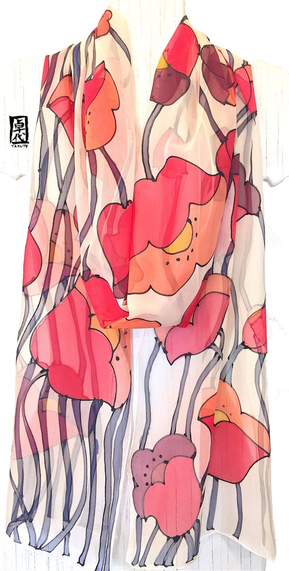 Hand Painted Silk Scarf, ETSY, Chiffon Scarf Floral, Retro MOD Japanese Red Poppies Scarf, Beige Scarf, Silk Scarves Takuyo, 11x90 inches
