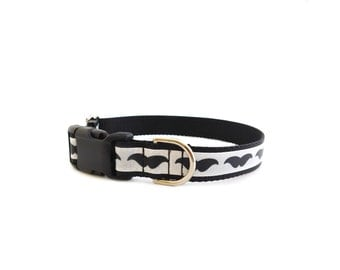 Mustache Dog Collar in Black and White