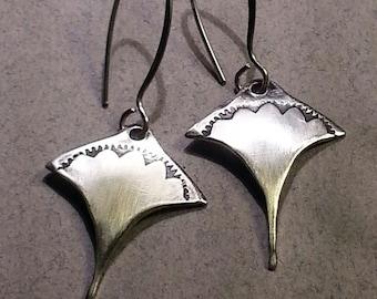 Silver Manta Ray Earrings sterling stamped stingray handmade artisan