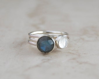 Labradorite ring- Moonstone ring- Gemstone ring- Stacking ring set- Sterling silver- Gift for her