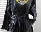 RESERVED Shiny Black Vinyl Raincoat by Kenn Sporn Wippette - Size Medium - Belted Trench Coat - Macintosh MAC - Rain Gear - Womens Fashions