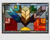 Stained glass window panel Arts and crafts rainbow feather chevron stained glass panel window Mission style chevron 0092