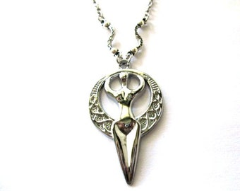 Silver goddess necklace jewelry antiqued silver earth goddess pendant necklace pagan jewelry