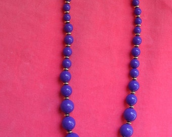 Vintage Purple and Gold Bead Necklace