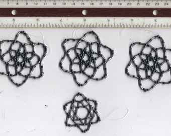 SALE! STAR ORNAMENTS - Black Ice Glass Beads - Set of 12