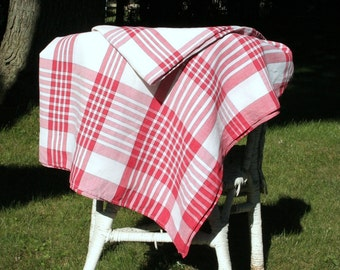 Vintage striped tablecloth, picnic tablecloth