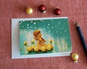Gold and Turquoise holiday card, Christmas Angel, Angel playing violin, Christmas carol, Christmas card
