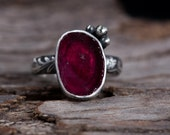 Raw Ruby Ring-Sterling Silver Rough Ruby Jewelry-Floral Band Ruby Ring-July Birthstone Ring