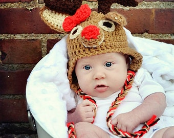 Rudolph hat, Reindeer hat. Newborn through adult sizes available.